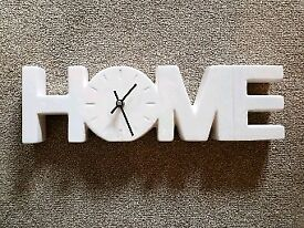 Ceramic HOME sign with integral clock