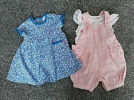 Girls 0-3 months dungaree set and dress