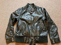 Girls leather look next jacket size 9-10y
