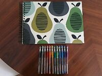 A3 Orla Kiely sketch pad and 12 glittery gel pens