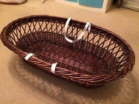 used wicker moses basket good condition