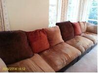 5 piece corner sofa chocolate leather/chenile