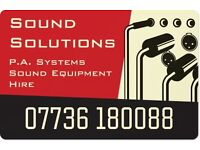 Sound Solutions, PA and sound equipment hire.