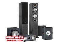monitor audio bronze b5 black 5.1 surround sound speaker set