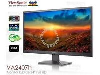 "ViewSonic VA2407h 24"" Full HD LED Monitor HDMI VGA+ stand"