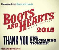 Selling two GA all-weekend passes for Boots & Hearts