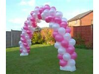 party package balloon arch column balloon centerpiece cake table bressed chair cover table cloth.