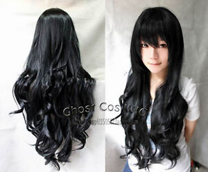"28"" Long New Black,Blonde,Pink,Warm Blonde,Red,Orange,Rose Red Cosplay Wavy Wig"