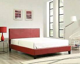 Double, red, leather bed, frame, Mattress,
