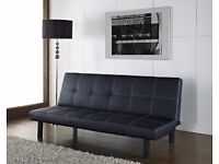Oregon Black Faux Leather Sofa Bed- Available Now