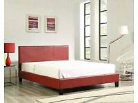 Red, leather bed, frame, ortho, sprung, mattress