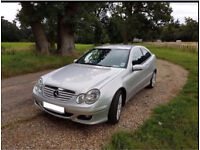 Mercedes c class coupe 1.8 petrol automatic c160 SE model, reduced price to sell. 2006, 56 plate.