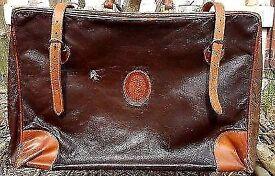Vintage Trussardi Brown Leather Valise Bag Case Italian Unisex luggage