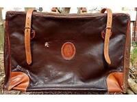 Vintage Trussardi Black and Brown Leather Valise Bag Case Italian