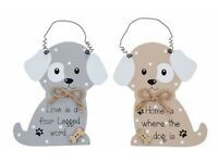 Cute Wooden Dog Pooch Plaque/Sign. Shabby Chic.