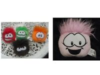 5 OFFICIAL CLUB PENGUIN PUFFLES. RED, BROWN, GREEN, ORANGE & PINK. NURSERY. BEDROOM. COLLECTABLE