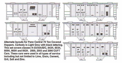 (HO F-266 Penn Central 70T Gray Covered Hopper Decals by Highball Graphics PC CR)
