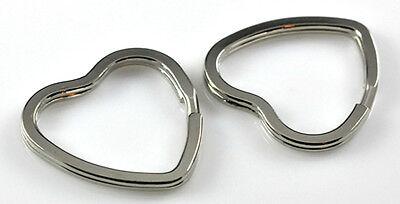 5 Large Nickle Plated Heart Shape Key Ring Split Ring