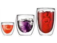 Bodum Pavina double wall glasses 2.5oz, 8oz & 12oz set