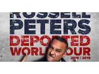 RUSSELL PETERS, Birmingham, 24th April 2018, 2 Front Block Tickets