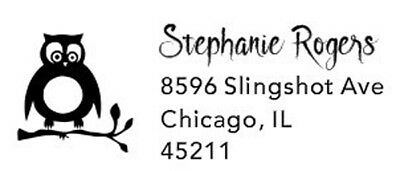 Custom Designer Return Address With Owl Logo Self Inking Gift Stamp
