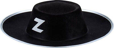 HAT Black ZORRO Costume Adult Suit Great Hero NEW Cheap](Great Cheap Costumes)