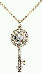 New Ladies Elegant Gold Color Key Shape Decorated Necklace