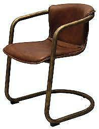 LEATHER & BRONZE DINING CHAIRS / Brand New Set of 6 / Bargain!!