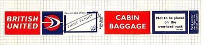 BC289 1960s GB *British United Airways* Hovercraft FIRST FLIGHT Cabin Bag Label