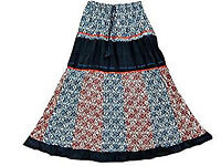 Bohemian Long Skirt Blue Printed Crinkle Patchwork Gypsy Skirts For Her