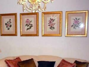 Bombay Co. Redout Roses French Art Work, Heavy Gold/Gilt Frames