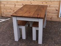 Chunky rustic solid timber dining table painted