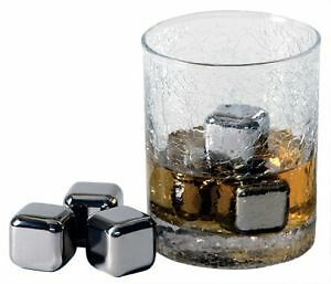Franmara-Steel-Ice-Whiskey-4-Stainless-Steel-Ice-Cubes-With-Freezer-Tray-Set-New
