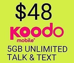 $48 Koodo - 5GB LTE Unlimited Phone Plan For Sale ($40 fee)