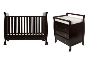 3 in1 Wooden Sleigh Baby Cot with Mattress+3 Drawer Change Table Springvale Greater Dandenong Preview