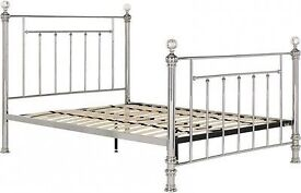 NEW Schreiber Bourton Chrome + Crystal Bed frame - Double