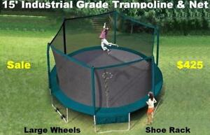 New 15'ft Industrial Grade Trampoline And Safety Enclosure, 10yr Warranty, Wheels Easy To Move