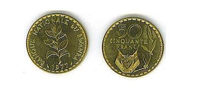 RWANDA 4-PIECE UNCIRC. VINTAGE COIN SET, 1 TO 50 FRANCS ()