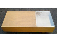 Ikea coffee table with part glass top and sliding storage drawer