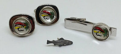 Fly Fishing Lure Cufflinks Tie Clip Clasp, Sid Bell Pewter Fish Lapel Pin Mens