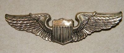 "WWII US STERLING MILITARY PILOT WINGS 3"" LONG WORLD WAR II PIN ***NO RESERVE"