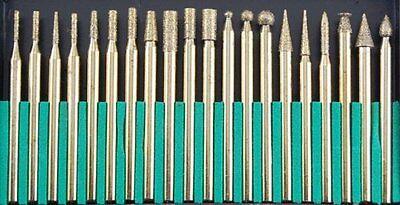 "20 Titanium Coated Diamond Burr Set 1/8"" 150 Grit Ceramics Stone Glass #823481TD"