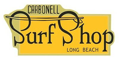 Carbonell Surf Shop  Vintage-60's Style Travel  Decal Surfing Sticker Long Beach