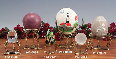 Choice of ONE Gold Silver Tone Metal Sphere Egg Stand Display Holder  (Gold Eggs)