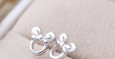 Super cute silver tone mickey / minnie mouse stud earrings