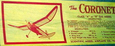 Vintage Coronet Scientific 46  Span Otff Rc Model Airplane Plan   Parts Patterns