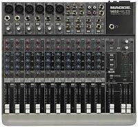 MIXER MACKIE 1402 VLZ3.BOITES AMPLIFIEES WHARFEDALE STAND