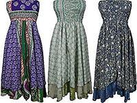 Womens Silk Skirt Dress Lot Of 3 Recycled Sari Maxi Beach Holiday Skirt Medium