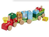 Wooden train stacking toy