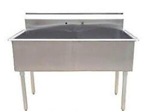 Evier commercial stainless sink acier inoxidable cuve de 24 x 48 grand bassin animalerie lavage usine